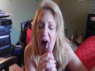 amateur blonde wife licks up cum after blowjob