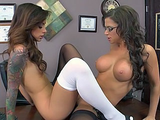 amazing babe big tits brunette cute glasses lesbian school small tits stockings tattoo teacher milf lesbian