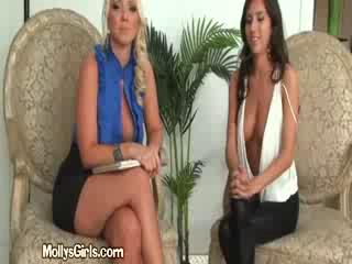 big tit blonde flirts with brunette applicant during interview