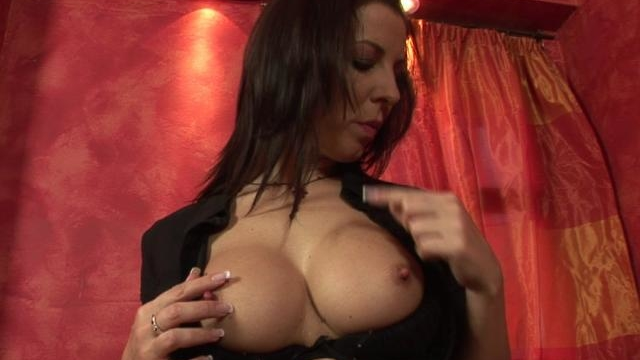 busty brunette office babe seductively strips for you