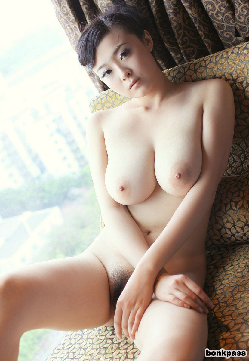 busty chinese busty hairy asian babe with natural tits wearing bodysuit