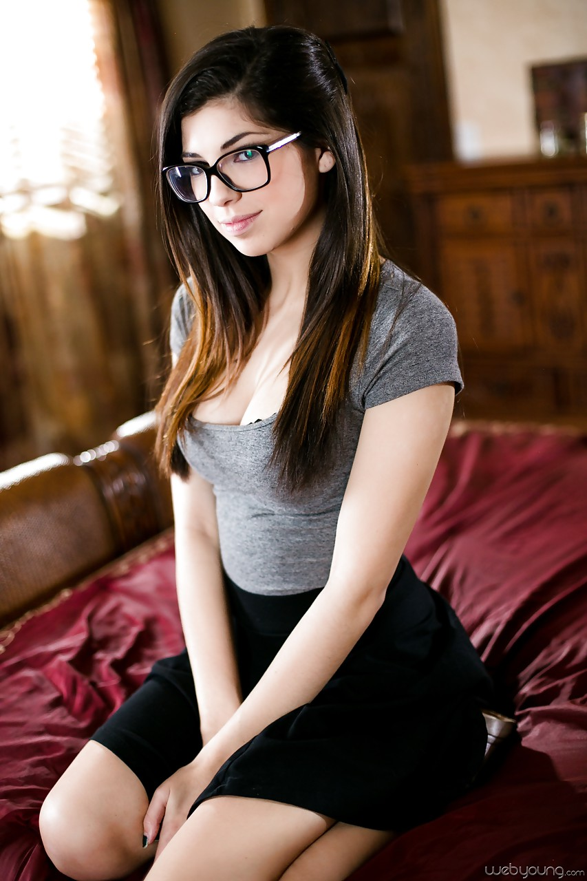 glasses wearing nerd undressing in bedroom for first time nudes