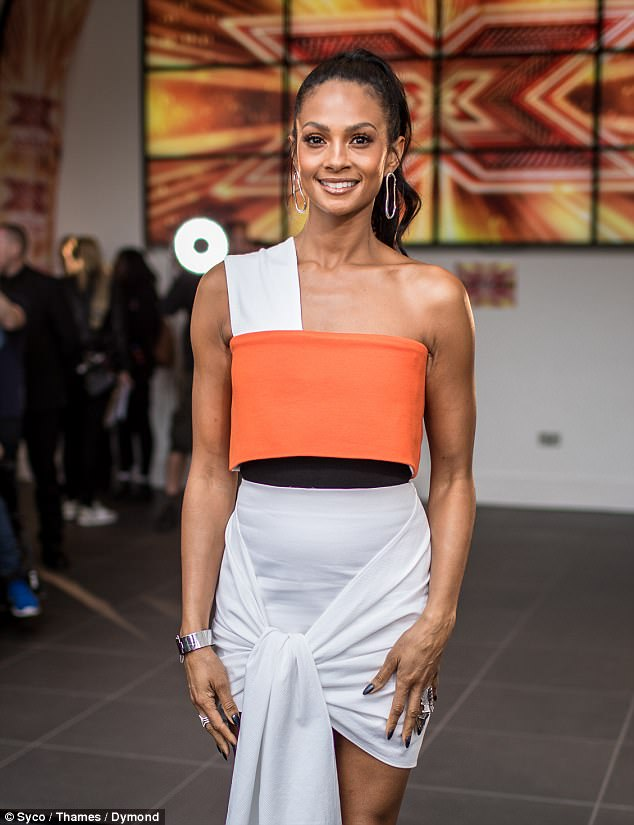 glowing alesha showed off her toned shoulders and radiant complexion in the summery number