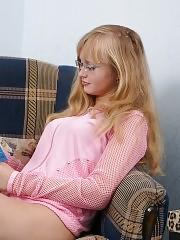 gorgeous nerdy blonde teen sucking and fucking her boyfriend