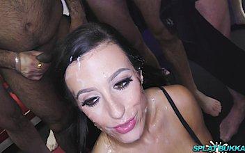 hd premium skyler mackay takes huge facials in a bukkake party