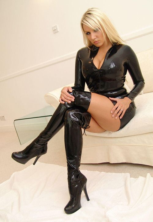 lovely latex outfit thigh high boots with women