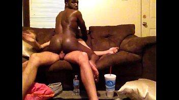 my black friend riding big white cock