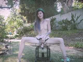 pale emo babe on dildo rocking chair