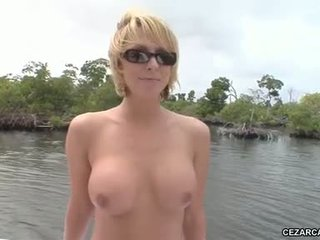 sweetheart brianna beach getting hot outdoor bathing her body on a yacht
