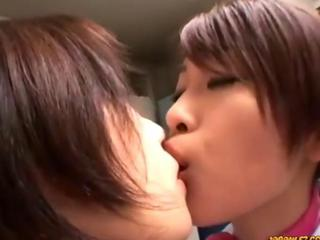 Kiss each girls passionately pussies two agree with told